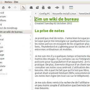 Zim - un wiki de bureau